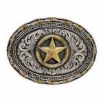 Montana Silversmiths Rope & Barb Wire Impressions Lone Star Attitude Buckle