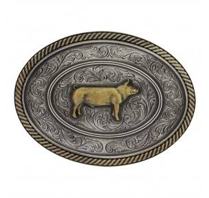 Montana Silversmiths Two Tone Classic Impressions Prize Pig Attitude Buckle