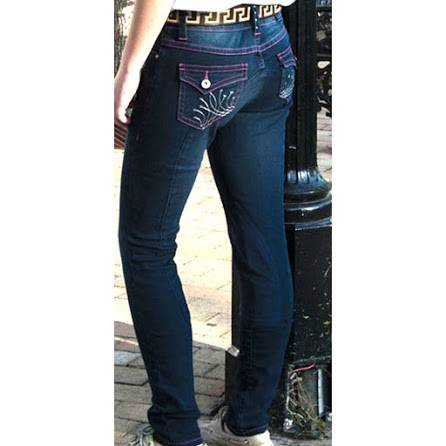 2kGrey Ladies Calecto V Full Seat Riding Breeches Embroidery Crystals Denim
