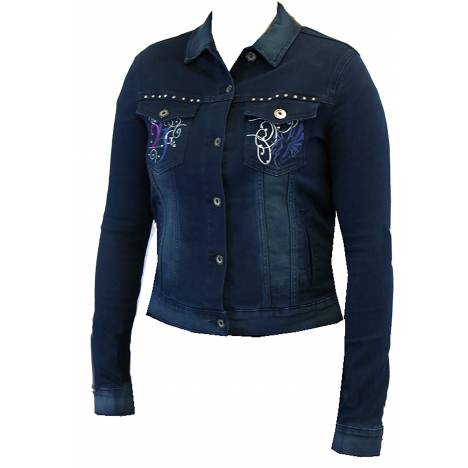 2kGrey Ladies Denim Embroidered Jacket