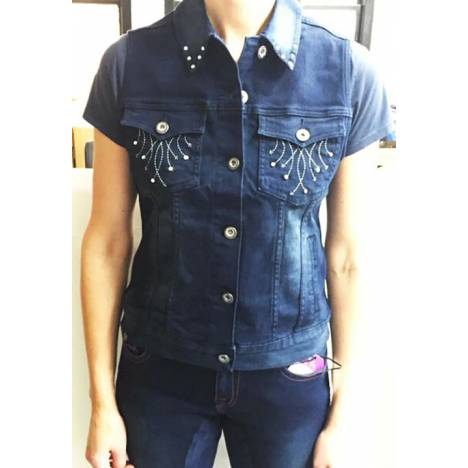 2kGrey Ladies Denim Embroidered Vest