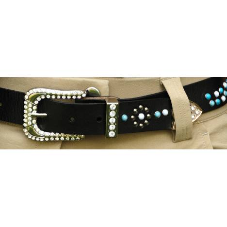 2KGrey Ladies Leather Belt with Turquoise Stones and Crystals