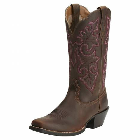 Ariat Ladies Round Up Square Toe Boots - Powder Brown