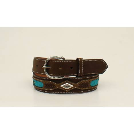 Nocona Mens Top Hand Ribbon Overlay Diamind Concho Belt Br