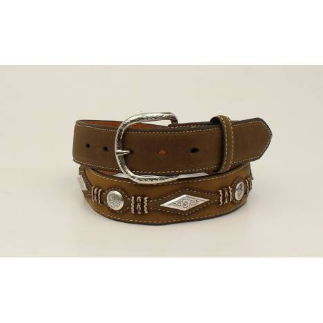 Nocona Mens Diamond Scroll Concho Top Hand Scallop Overlay Belt