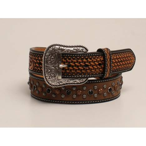 Ariat Mens Scroll Embossed Tabs Rhinestone And Nailhead Belt
