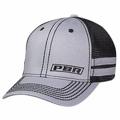 Pbr Mens Text Offset Logo Side Stripes Cap