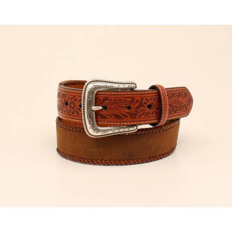 Nocona Mens Lace Edge Tooled Tab Leather Strap Belt