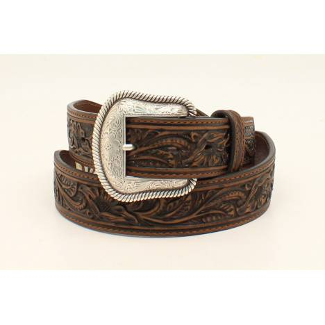 Nocona Mens Starburst Concho Embossed Two Scallop Belt
