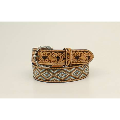 Nocona Mens Diamond Fabric Floral Embossed Belt