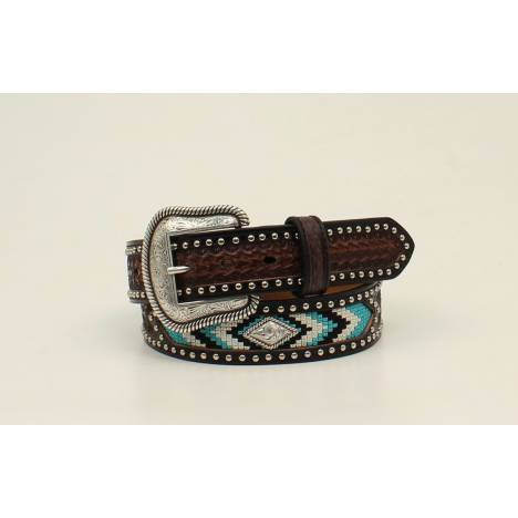 Nocona Mens Ribbon Overlay Nailhead Belt