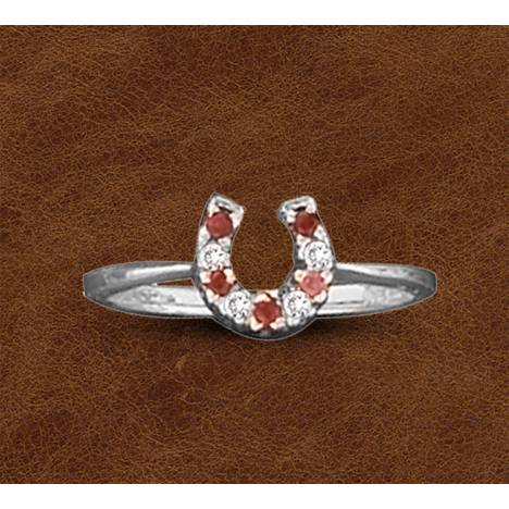 Kelly Herd Silver Horseshoe Ring - Red
