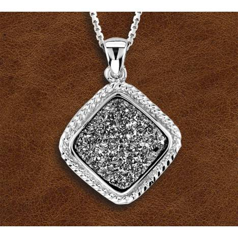 Kelly Herd Silver Stone Pendant With Druzy Stones
