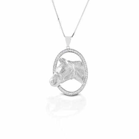 Kelly Herd Oval Halter Horsehead Necklace - Sterling Silver