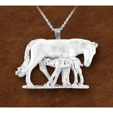 Kelly Herd Silver Nursing Mare And Foal Necklace