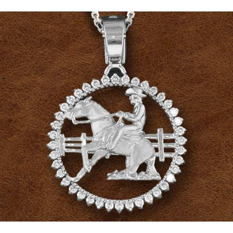Kelly Herd Silver Sliding Horse And Cowboy Pendant