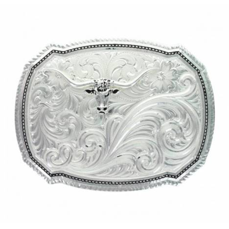 Montana Silversmiths Mexican Stitch Pin Point Longhorn Buckle