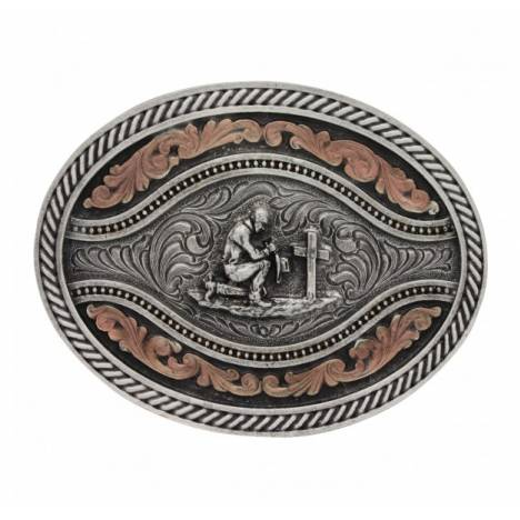 Montana Silversmiths Classic 2 Tone Channel Oval Praying Cowboy Attitude Buckle