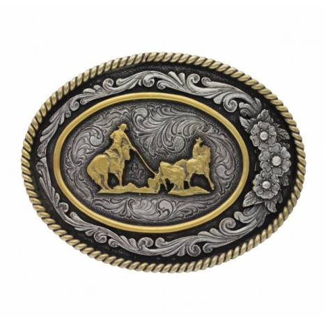 Montana Silversmiths Classic 2 Tone Three Flowers Team Rope Attitude Buckle