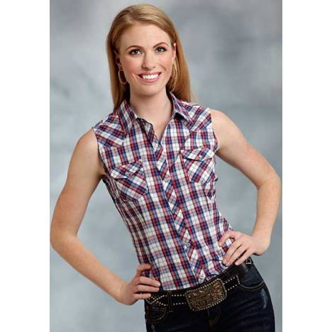 Roper Ladies Plaid Sleeveless Western Shirt - Red Blue