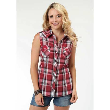 Roper Ladies Sleeveless Plaid Western Shirt - Red Black