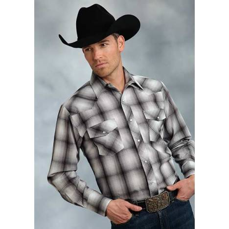 Roper Mens Long Sleeve Tonal Plaid Western Shirt - Grey