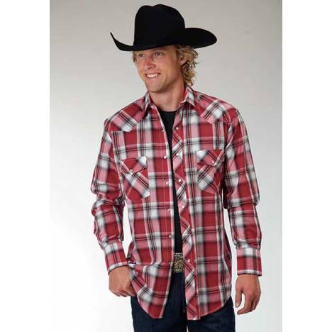 Roper Mens Woven Plaid Western Long Sleeve Shirt - Red Black