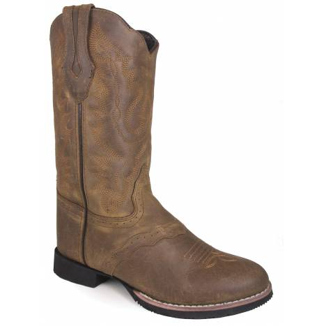"Smoky Mountain Ladies Showdown 10"" U Toe Leather Boots - Brown Distress"