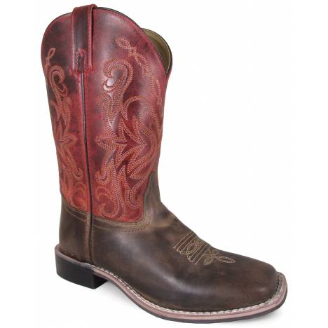 """Smoky Mountain Ladies Delta 10"""" Leather Square Toe Boot - Brown/Red Crackle"""