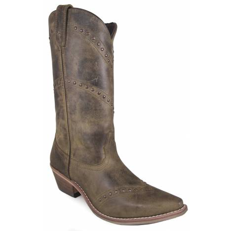"Smoky Mountain Ladies Crystal 12"" Snip Toe Leather Boots - Brown"