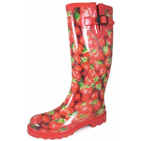 "Smoky Mountain Ladies 15"" Rubber Boots - Strawberry Print"