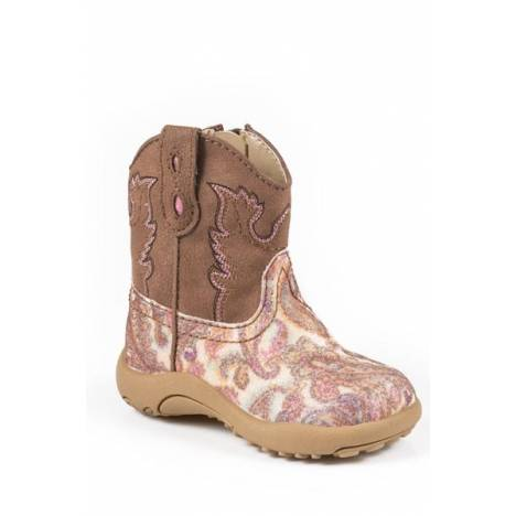 Roper Cowbabies Infant Girls Glitter Paisley Western Boots