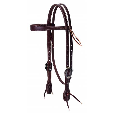 Weaver Working Tack Slim Cowboy Browband Headstall - Buffed Brown Hardware