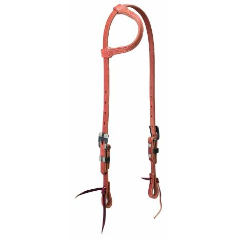 Weaver Premium Harness Leather Sliding Ear Headstall - Buffed Black Hardware