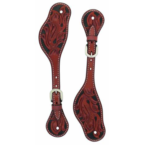 Weaver Mens Cross Floral Carved Spur Straps