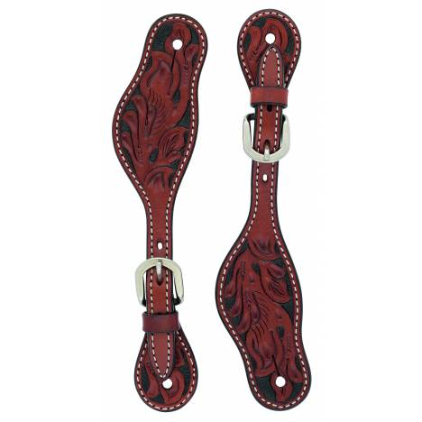 Weaver Ladies Cross Floral Carved Spur Straps