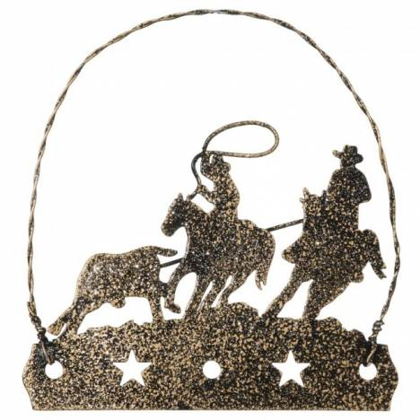 Tough-1 Equine Motif Ornament With Glitter Finish - Team Roper