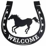 Tough-1 Welcome Running Horse Horseshoe Sign