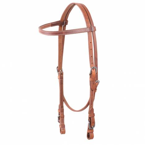 Cashel Harness Leather Stitched Browband Headstall - Buckle Ends