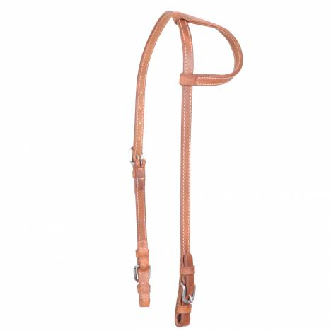 Cashel Harness Leather Stitched Slip Ear Headstall - Buckle Ends