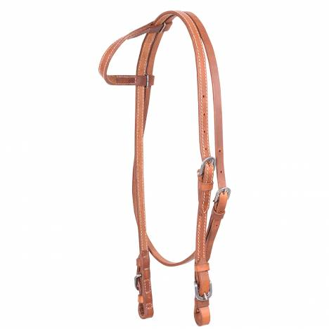 Cashel Harness Leather Stitched Slip Ear Headstall - Throat Latch Buckle Ends
