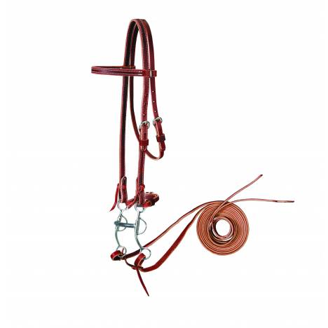 Colorado Saddlery Latigo Browband Bridle Set With Tom Thumb Bit