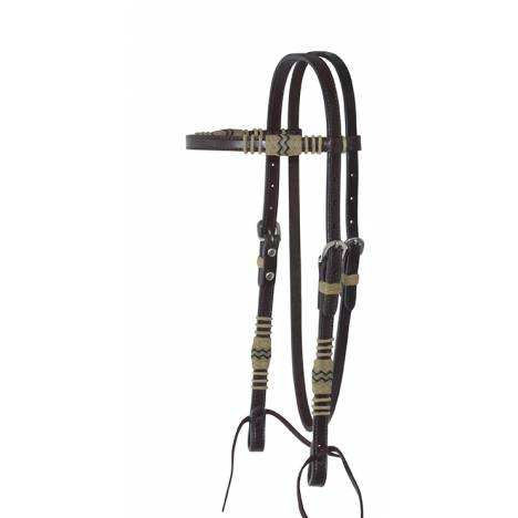 Reinsman Rawhide Braiding Browband Headstall With Tie Bit Ends