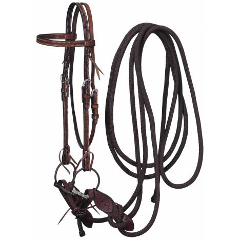 Tough-1 Leather Browband Headstall, Snaffle & Mecate Set