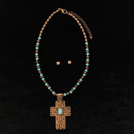 Blazin Roxx Stone Disc Chain With Stone Cross Embossed Pendant