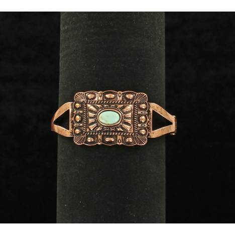 Blazin Roxx Stamped Square Oval Center Stone Snap Bracelet
