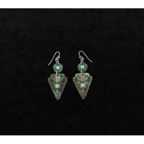 Blazin Roxx Patina Stone Arrow Dangle Earrings