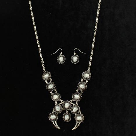 Blazin Roxx Oval Stone Single Squash Blossom Necklace And Earrings Set