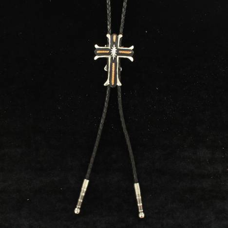 Crumrine Three Tone Cross Oval Center Bolo Tie
