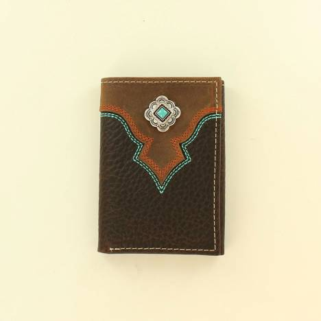 Nocona Mens Tri-Fold Top Stitch Diamond Concho Wallet